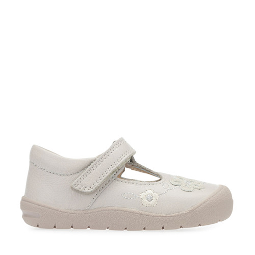 Start-Rite First Mia, Taupe Leather Girls Riptape T-bar First Walking Shoes 0743_0