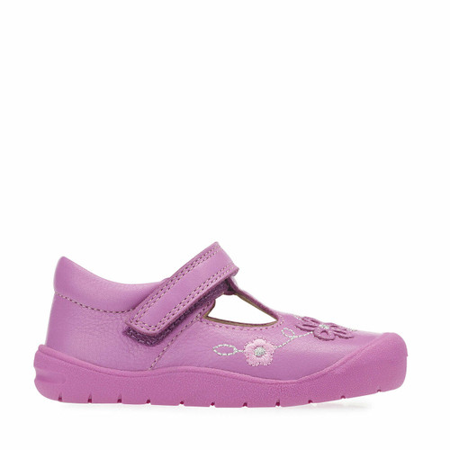 Start-Rite First Mia, Bright pink leather girls riptape t-bar first walking shoes 0743_2