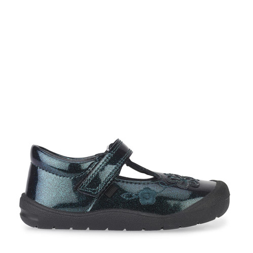 First Mia, Black Glitter Patent Girls Riptape T-bar First Walking Shoes 0743_3