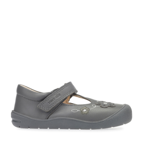 First Mia, Grey Leather Girls Riptape T-bar First Walking Shoes 0743_5