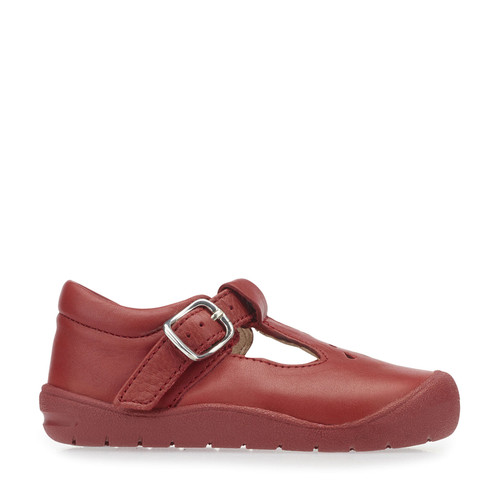 Start-Rite First Evy, Red Leather Girls Buckle First Walking Shoes 0744_1