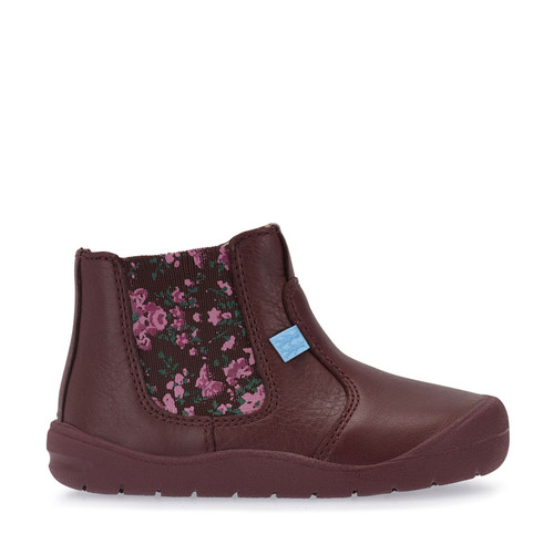 First Chelsea, Wine Leather Girls Zip-up First Walking Boots 0745_1