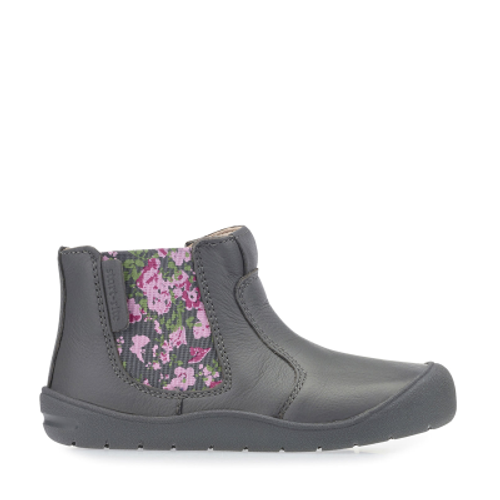 First Chelsea, Grey Leather/Floral Girls Zip-up First Walking Boots 0745_5