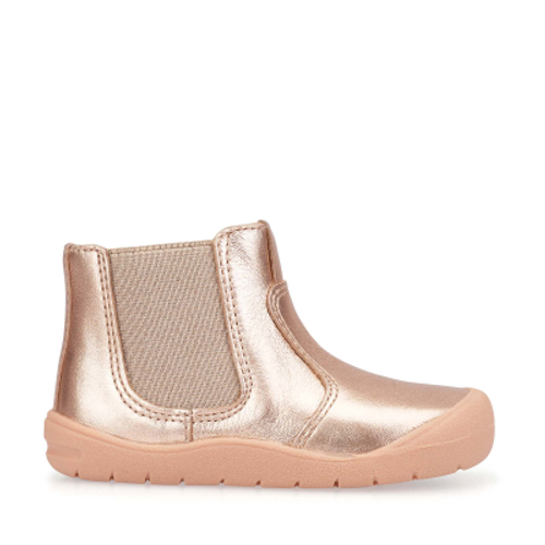 First Chelsea, Rose Gold Leather Girls Zip-up First Boots 0745_6