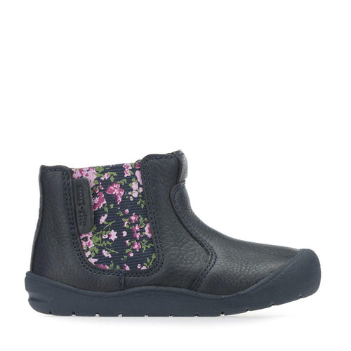 Start-Rite First Chelsea, navy leather girls zip-up first walking boots 0745_9