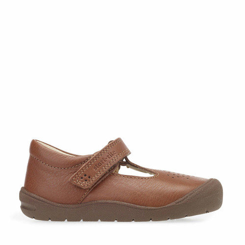 Start-Rite First Alex, tan leather riptape t-bar first walking shoes 0748_0