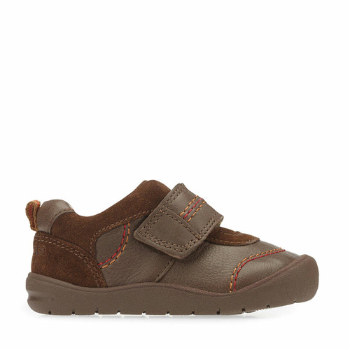 Start-Rite First Zak, brown leather boys riptape first walking shoes 0749_0