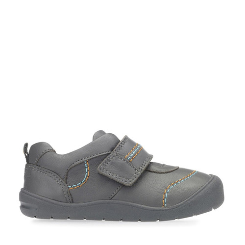 First Zak, Grey Leather Boys Riptape First Walking Shoes 0749_5