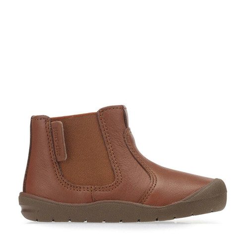 Start-Rite First Chelsea, tan leather zip-up first walking boots 0750_0