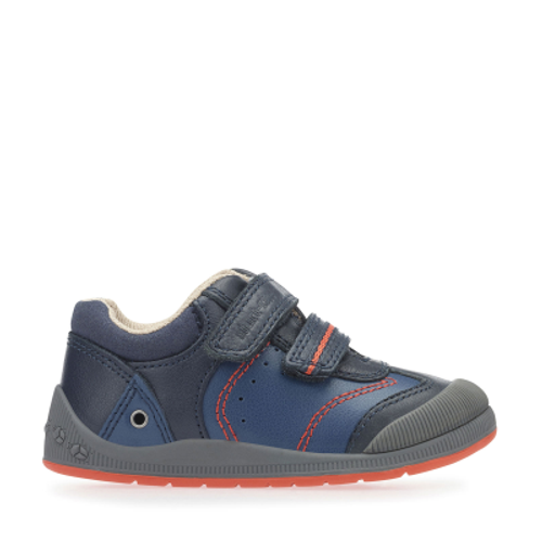 Tough Bug Fst, Navy Blue Leather Boys Riptape First Walking Shoes 0754_9