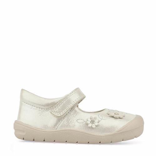 Start-Rite Flex, silver leather girls riptape first walking shoes 0758_5