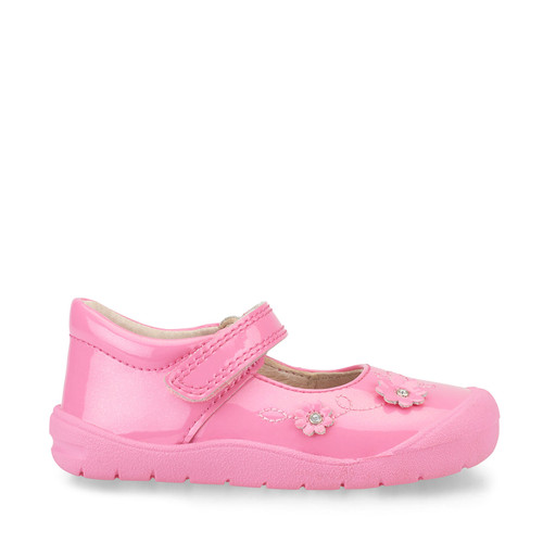 Flex, Bright Pink Glitter Patent Girls Riptape First Walking Shoes 0758_8