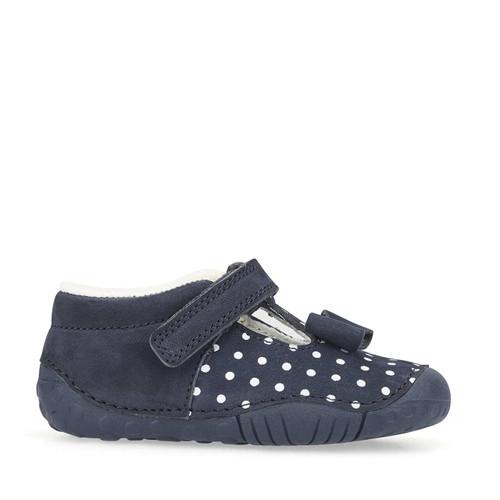 Start-Rite Wiggle, navy blue polka dot nubuck girls t-bar riptape pre-walkers 0765_9