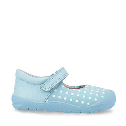 Start-Rite Joy, pale blue polka dot nubuck girls riptape first walking shoes 0768_2