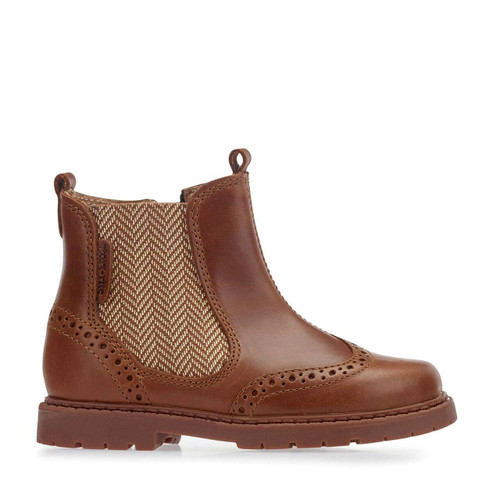 Start-Rite Digby, Tan Leather Zip-up Boots 1272_1