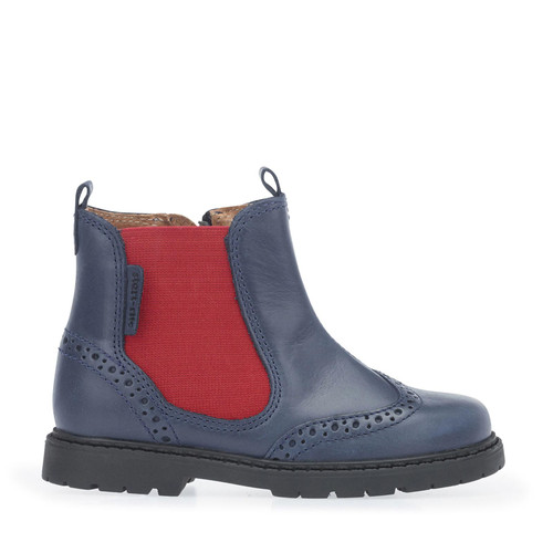 Start-Rite Digby, Navy blue leather zip-up boots 1272_9