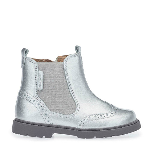 Start-Rite Chelsea, Silver Patent Girls Zip-up Ankle Boots 1445_0