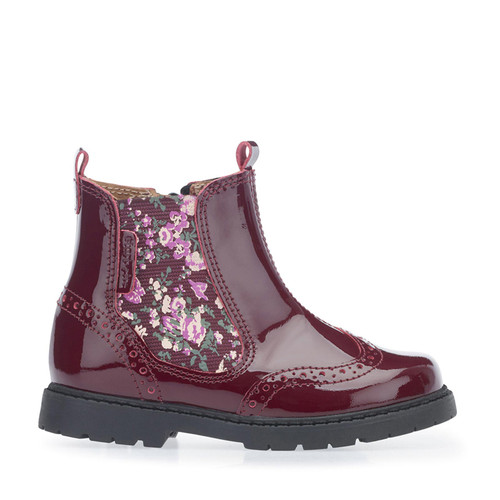 Start-Rite Chelsea, wine patent/floral girls zip-up ankle boots1445_1