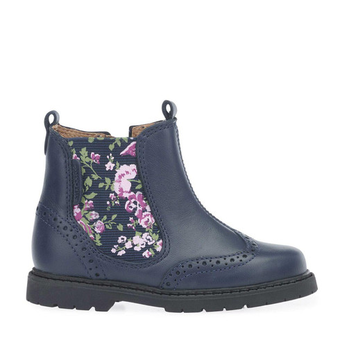 Start-Rite Chelsea, navy blue leather/floral girls zip-up ankle boots 1445_8