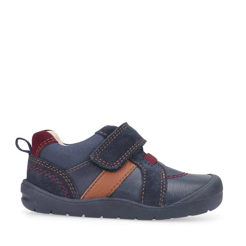 Start-Rite Twist, navy blue leather/suede boys riptape first walking shoes 1480_9