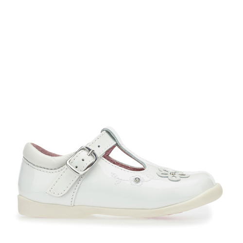 Start-Rite Sunflower, White patent girls buckle t-bar first walking shoes 1671_4