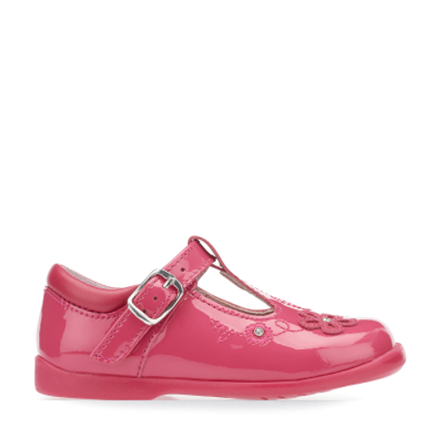 Sunflower, Bright Pink Patent Girls Buckle T-bar First Walking Shoes 1672_6