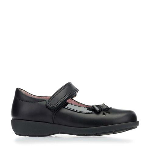 Start-Rite Maria, black leather girls riptape pre-school shoes 1677_7