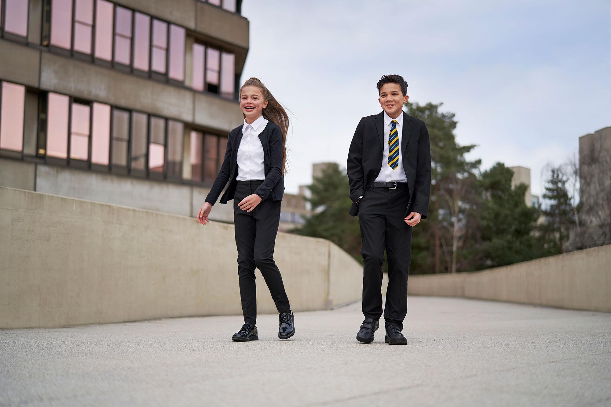 Girl and Boy in School Uniform