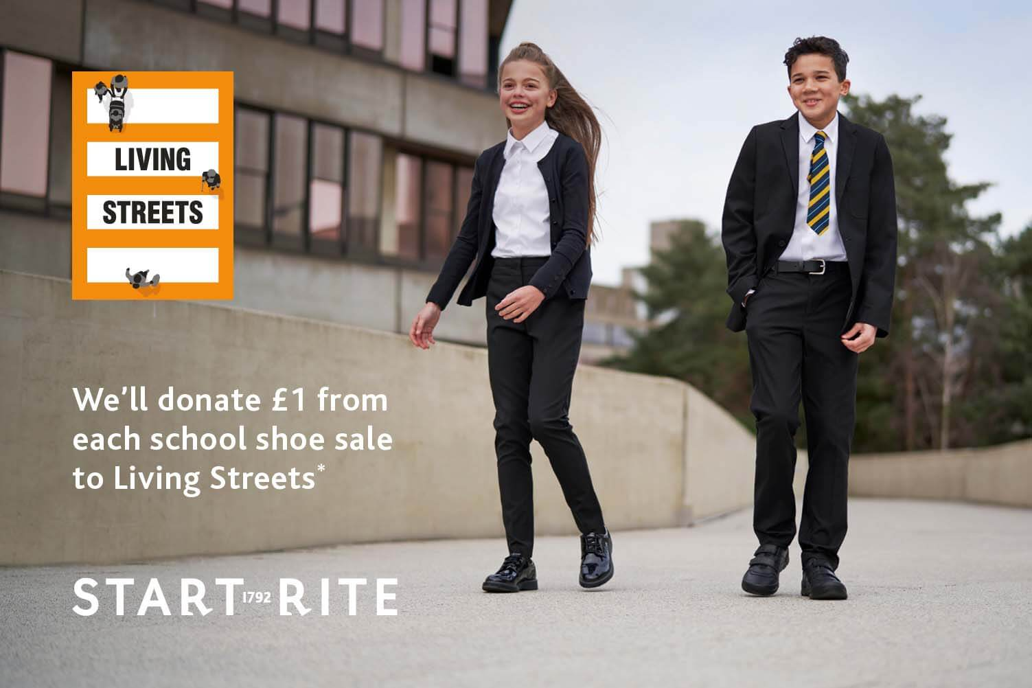 We'll donate £1 from each school shoe sale to Living Streets*