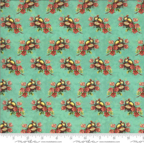 Moda Fabrics - Birds Nest Turquoise - Flea Market Mix - Cathe Holden