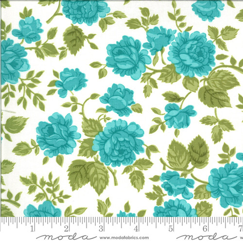 Moda Fabrics - Gathered Roses Porcelain Sky- Pocketful of Posies - Chloe's Closet