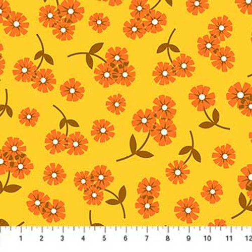 Figo Fabrics - Daisies Yellow - Butterscotch - Dana Willard