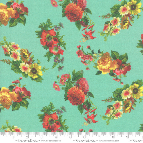Moda Fabrics - Florals Turquoise - Flea Market Mix - Cathe Holden