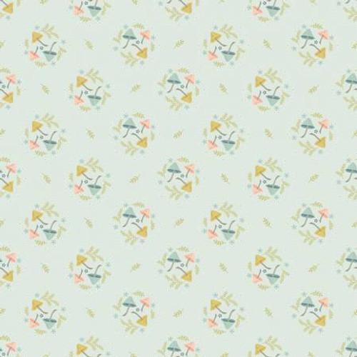 Poppie Cotton - Light Blue Mushroom Toss - Woodland Songbird - Sheri McCulley