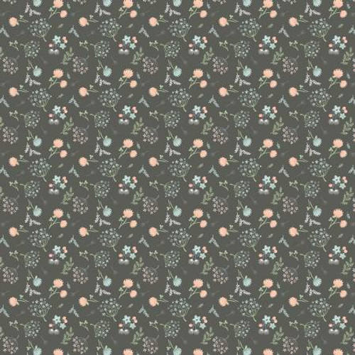 Poppie Cotton - Dark Grey Woodland Floral - Woodland Songbird - Sheri McCulley
