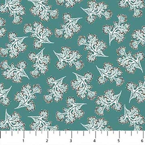 Figo Fabrics - Sea Weeds in Teal - Sea Botanica - Sarah Gordon