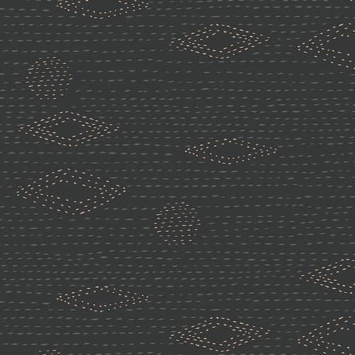 Art Gallery Fabrics - Kantha Charcoal - Kismet - By Sharon Holland