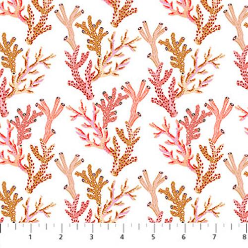 Figo Fabrics - Corals in White - Sea Botanica - Sarah Gordon