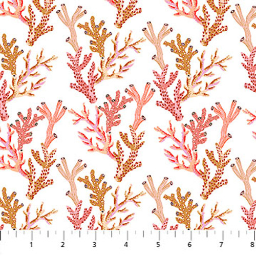 Figo Fabrics - Corals in White - Sea Botanica - Sarah Gordon