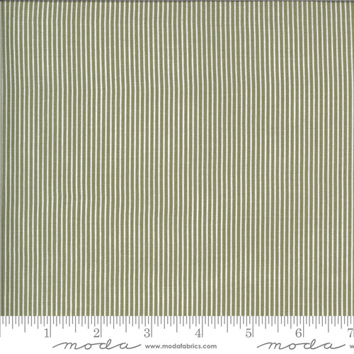 Moda Fabrics - Skinny Stripes Olive - Folktale - Lella Boutique