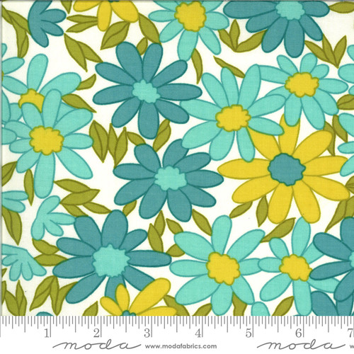 Moda Fabrics - Big Floral Aqua - Blooming Bunch  - Maureen McCormick