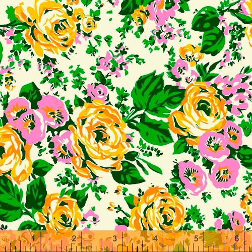 Windham Fabrics - White Posy Main - Posy - Annabel Wrigley