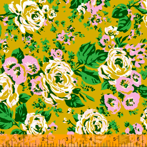 Windham Fabrics - Yellow Posy Main - Posy - Annabel Wrigley
