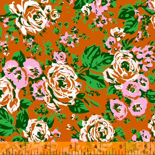 Windham Fabrics - Orange Posy Main - Posy - Annabel Wrigley