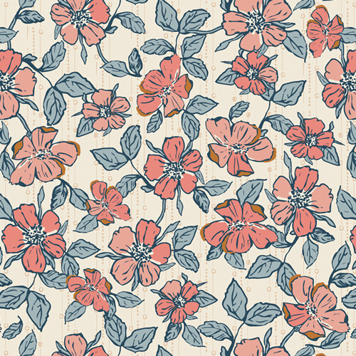 Art Gallery Fabrics - Crafted Blooms Vanilla - Homebody - Maureen Cracknell