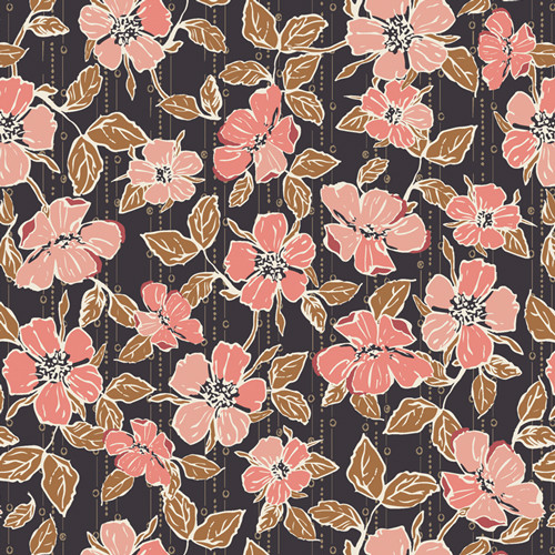 Art Gallery Fabrics - Crafted Blooms Cacao - Homebody - Maureen Cracknell