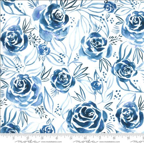 Moda Fabrics - Roses Indigo - Moody Bloom Digital - By Create Joy Project