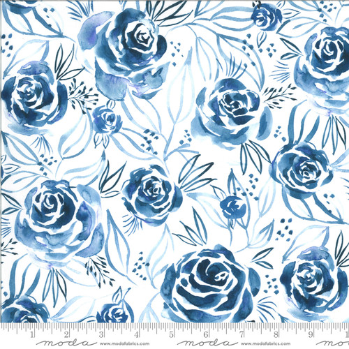 Moda Fabrics - Roses Indigo - Moody Bloom Digital - By Create Joy Project