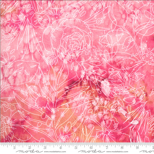 Moda Fabrics - Marbled Line Drawing Fuchsia - Moody Bloom Digital - By Create Joy Project