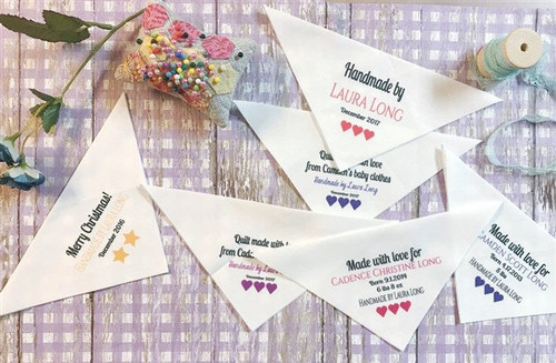 Set of 9 different Custom Quilt Labels